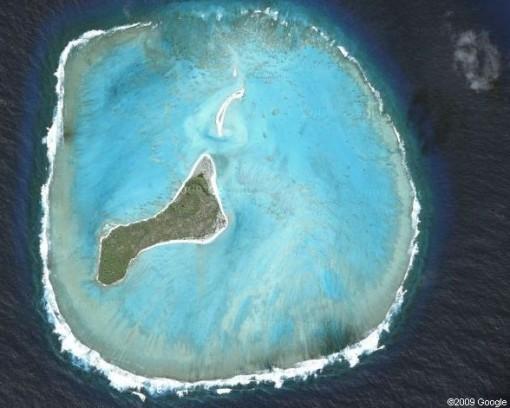 صورة من القمر الاصطناعي لجزيرة إينو Oeno Island